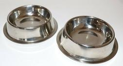 2 Small Dog Bowls Stainless Steel Non Slip Pet Puppy Food Wa