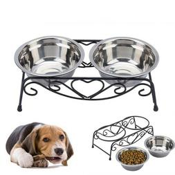 Dog Bowl Double Drinking Bowls Cat Dog Puppy Pet Water Food