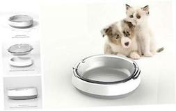 Dog Cat Food Bowls Glass Tilted Water Feeder Non-Slip Dish B