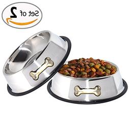 Dog Food Water Bowl Stainless Steel Rubber Base Non Slip 2 P