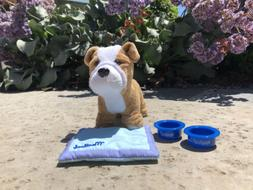 American Girl Dog  with 2 Personalized Bowls and Mat