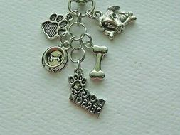 DOG PERSON DOGS PAW BONE BOWL KEY CHAIN CLIP FOR PURSE BACKP
