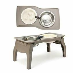 Elevated Pet Bowl Stand for Medium Dogs with Slow Feeder Bow