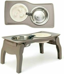 Elevated Pet Bowl Stand for Medium Dogs with Slow Feeder two