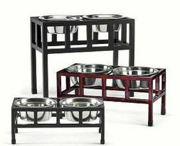 Four Square Double Pet Diner Raised Dog Food Water Bowls Ele