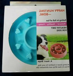 Happy hunting dog food bowl healthy diet slow eating