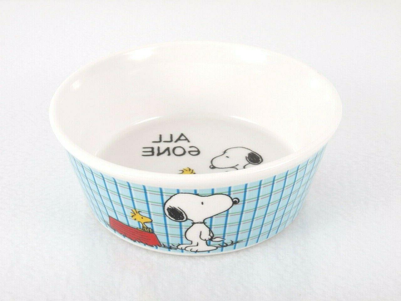 snoopy pet food bowl ceramic all gone