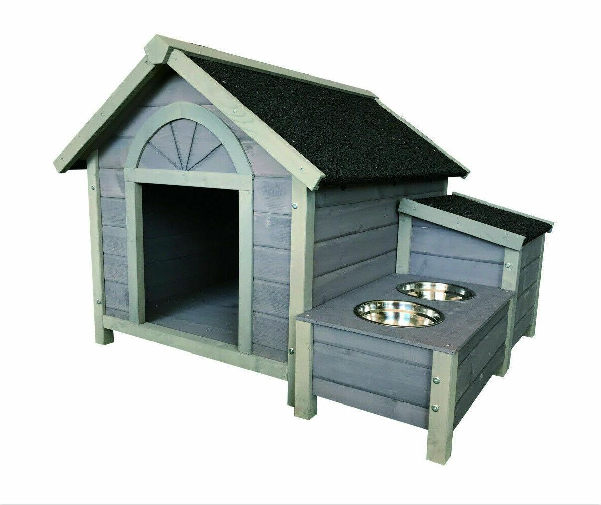 wooden dog house dog kennel with dog