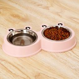 Dog Food Feeder New Double Bowl Stainless Steel Pet Drinking