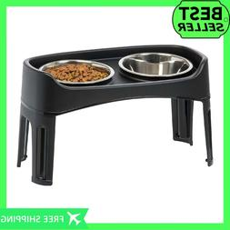 New Large Raised Elevated Dog Feeder Pet Stainless Steel Bow