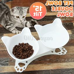 Non-slip Cat Double Bowls w/Raised Stand Pet Dish Food Water