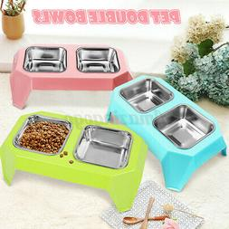 Pet Dog Cat Double Stainless Steel Raised Bowls Water Food F