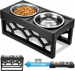 Raised Dog Bowls with 4 Adjustable Stand Stainless Steel Bow