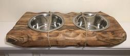 Rustic Dog Feeding Station With Two Dog Bowls Solid Wood Mad