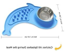Slow Feeder No Spill Silicone Stand & Stainless Steel Dog Fo