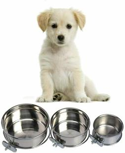 Stainless Steel Feeding Bowl Cage Pet Dog Water Crate Kennel