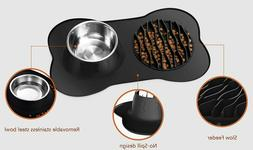 STAINLESS STEEL DOG BOWL WITH SLOW FEEDER MAT