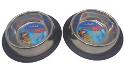Stainless Steel Dog Bowls TWO 8 Oz Non-Skid No Tip Water & F