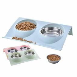 stainless steel pet dog double bowl food