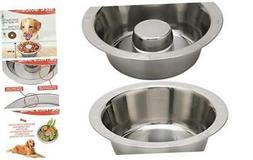 Stainless Steel Slow Feed Dog Bowl - 4 Cup Extra Large Pet S