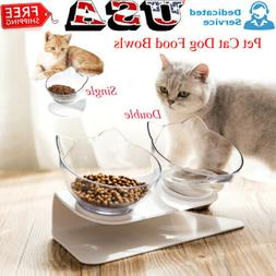 Tilted Cat Bowl w/ Stand Food Water Feeding Bowl Pet Dog Cat